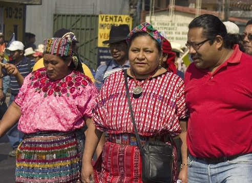 Nobel Peace Laureate Rigoberta Menchu Tum on march with collegues in Guatemala