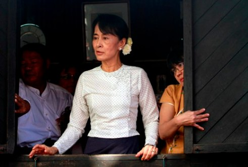 Nobel Peace Prize Laurate Daw Aung San Suu Kyi give a speech
