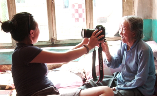 Canadian born Chinese woman filmmaker Tiffany Hsiung lets former Chinese Comfort Woman, Grandma Zhou in Shan Xi province, China August 7, 2010