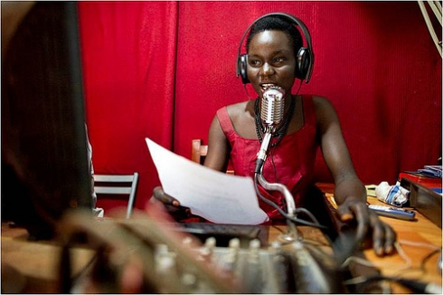 Woman radio broadcast producer in South Sudan