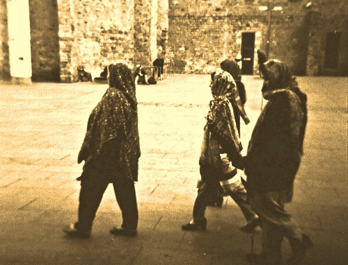 Four Muslim women walk on the streets of Barcelona together in April 2012