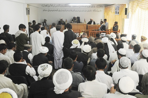 Local courtroom is crowded with spectators in Kunar Province, Afghanistan