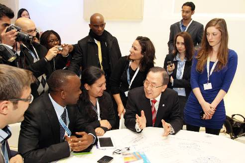 Youth meeting with UN Secretary General Ban Ki-Moon at the 5th Global Forum of the United Nations Alliance of Civilisations