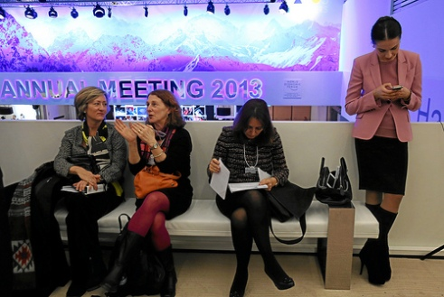 Women participants at the World Economic Forum in Davos, Switzerland January 23, 2013