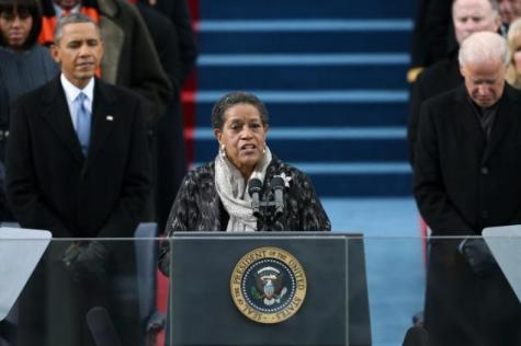 Myrlie Evers-Williams giving the invocation at President Obama's inauguration