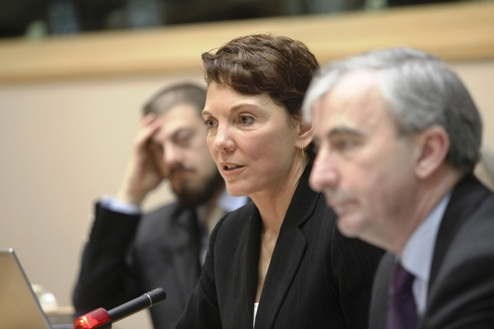"Fim consultant and advisor for the documentary ""It's a Girl"" Reggie Littlejohn talks before the European Parliament about the ongoing problem of femicide on March 2011"