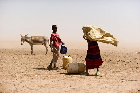 Mother and son in Kenya desert