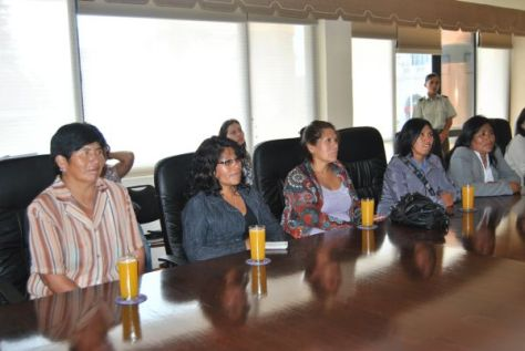 Five Chilean women sitting at a board table
