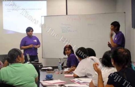 Jinita Prasad speaks to women attending a workshop