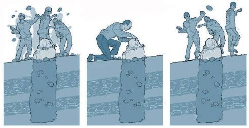 Graphic illustration of stoning Iran