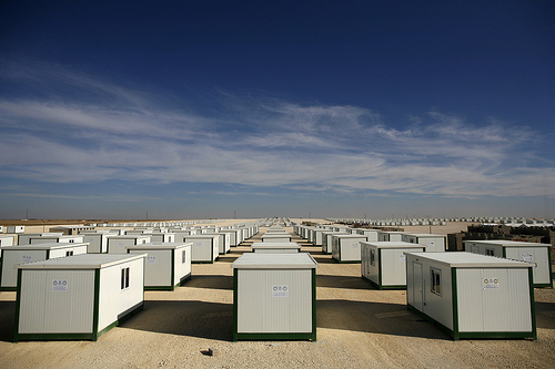 Refugee camp temporary homes Jordan