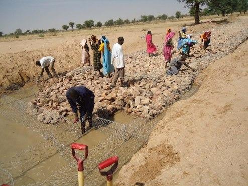 Villagers in Central Darfur, Sudan, Africa build bridge