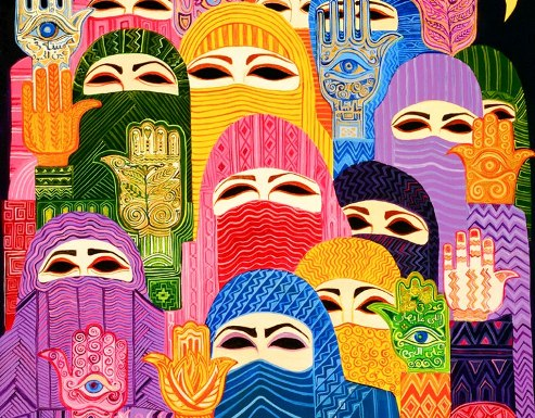 Artwork depicting Muslimas around the world