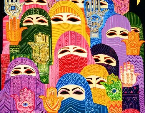 Artwork depicting Muslimas around the world