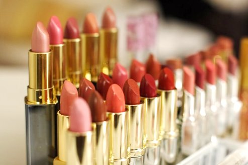 Lipsticks on cosmetic counter
