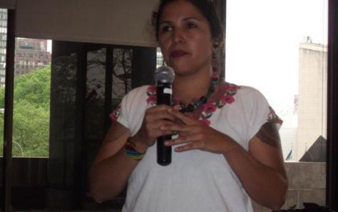 Eve Reyes-Aguirre of Tonatierra Embassy of Indigenous People, Phoenix, Arizona, speaking at the Global Indigenous Women's Caucus in Washington, D.C. on May 4, 2012.