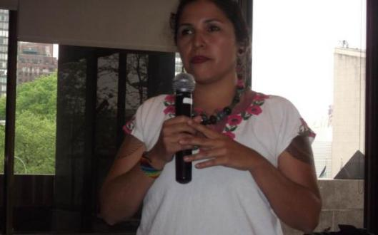 Eve Reyes-Aguirre of Tonatierra Embassy of Indigenous People, Phoenix, Arizona, speaking at the Global Indigenous Women's Caucus in Washington, D.C. on May 4, 2012.