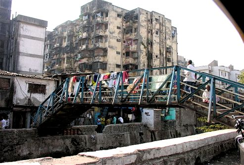 Entrance to Dharavi slum Mumbai, India