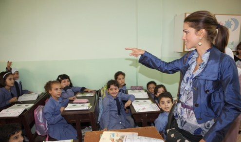 Child students who are part of Jordan's educaitonal program Madrasati with Queen Rania