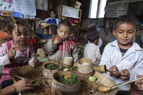 Laos children who are part of the food in the schools program