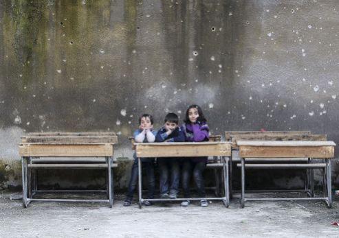 Makeshift school in Aleppo, Syria