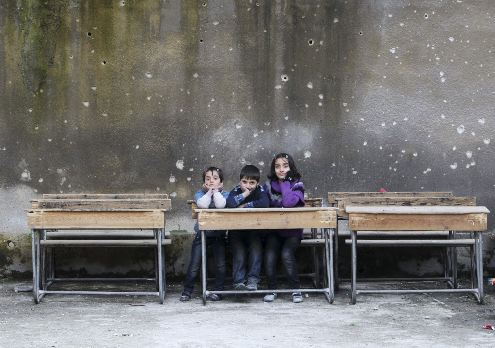Makeshift school in Aleppo, Syria