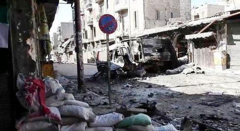 Bomb devastation Aleppo, Syria