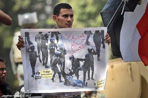 Male protester for women in Cairo April 2012