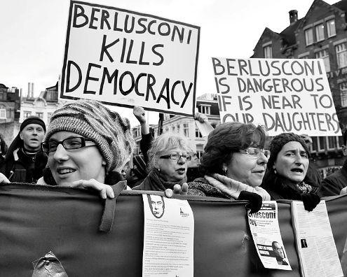 Women protest against Berlusconi Netherlands
