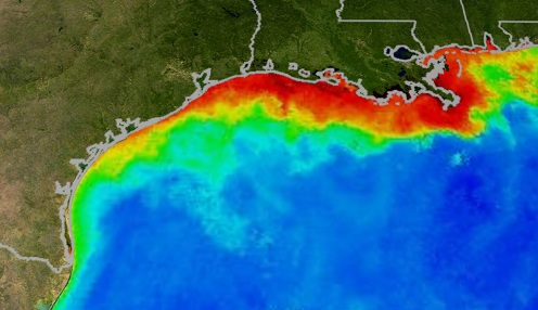 NOAA chart of dead zones in Gulf of Mexico U.S.