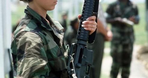 U.S. Marine woman infantry member