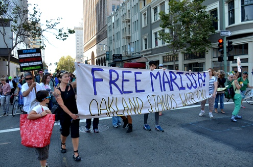 An actiivist rally supports in Oakland, California supports U.S. prisoner Marissa Alexander