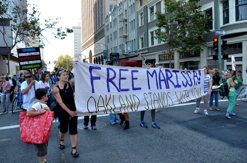 An actiivist rally supports in Oakland, California supports U.S. prisoner Marissa Alexander