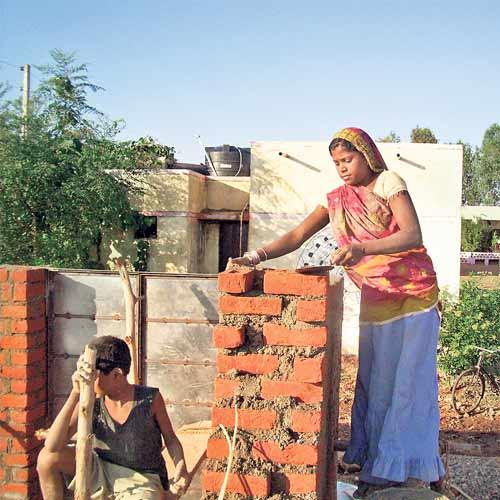 Woman lying bricks