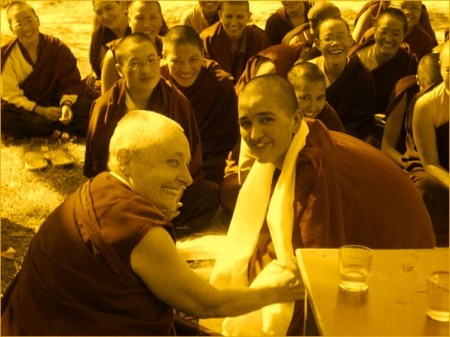 Buddhist teacher and nun Jetsunma Tenzin Palmo with the nuns of the Dongyu Gatsal Ling Buddhist Nunnery in India