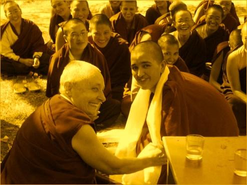 Buddhist teacher and nun Jetsunma Tenzin Palmo with the nuns of the Dongyu Gatsal Ling Buddhist Nunnery in India