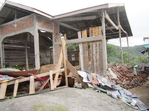 Devastated house after July 3, 2013 earthquake on the island of Sumatra in Aceh province, Indonesia