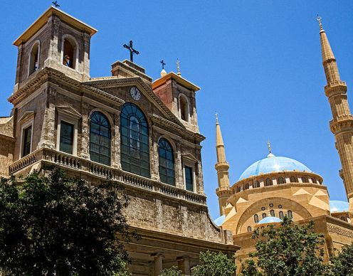 Mosque and church in Beirut, Lebanon