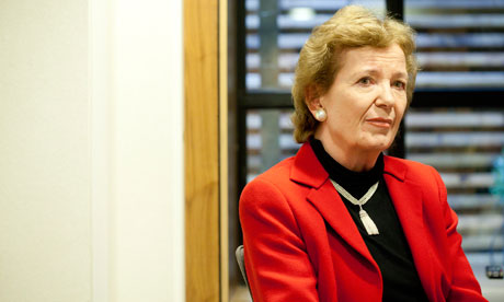 Mary Robinson, former president of Ireland, accused Rio+20 leaders of backsliding on women's rights