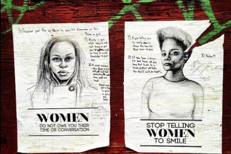 Street art with messages from women