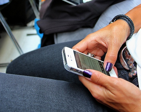 Woman on mobile device