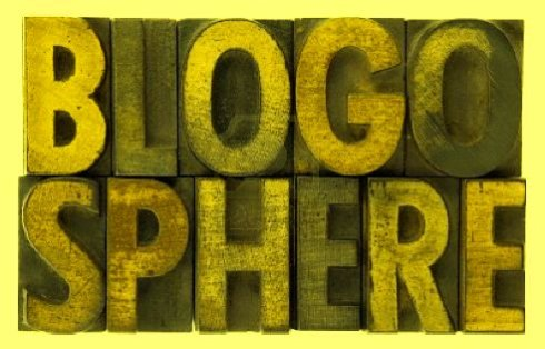 Blogosphere wooden banner sign