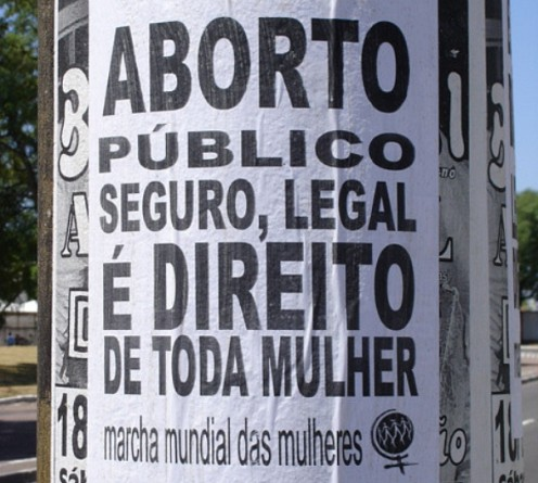 Abortion rally sign Brazil