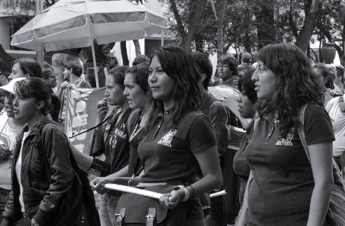 Mexican women teachers march