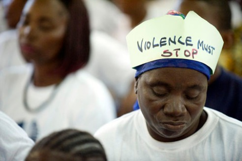 Woman protests against vaw South Africa