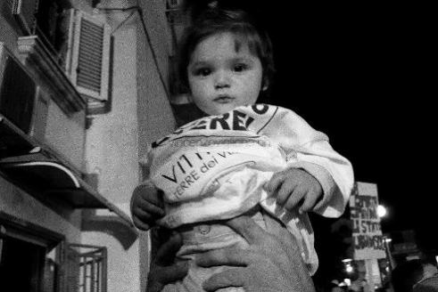 Child in street protest Campania, Italy