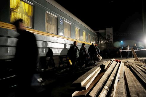 A train stop along the Trans-Siberian Railway