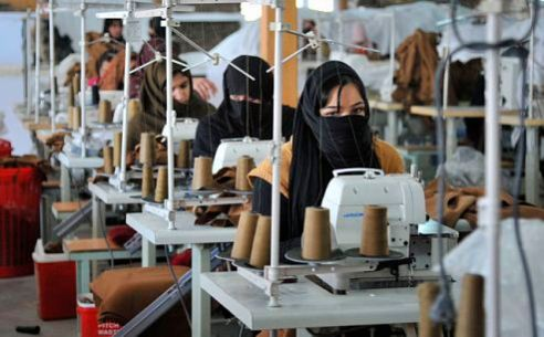 Afghan women in textile mill Kabul