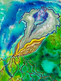 Artist Annette Wagner painting Chrysalis