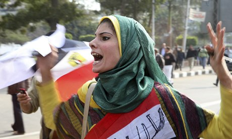 Female protesters in Cairo